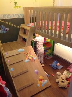 The better Real Life: Gorgeous children's beds for tiny bedrooms, toddler high bed with fun play area and cute stairs. DIY? sent a message ;)