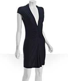 Jersey v-neck cap sleeve dress