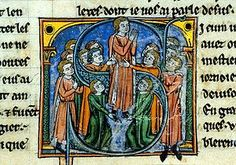 "A depiction of the coronation of Godfrey de Bouillon in the work Historie d'Outremer by William of Tyre.  ""Outremer"" or ""Oversees"" was a common name for the lands across the Mediterranean."