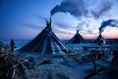 """A colony of tents, or """"chums"""", belonging to Nenets herders stand in the Arctic tundra in the Russian Nenets Autonomous Region. The culture of the indigenous people of the Russian Arctic eroded under Soviet collectivization and now their land is endangered due to modern oil and gas exploration, February 2011."""