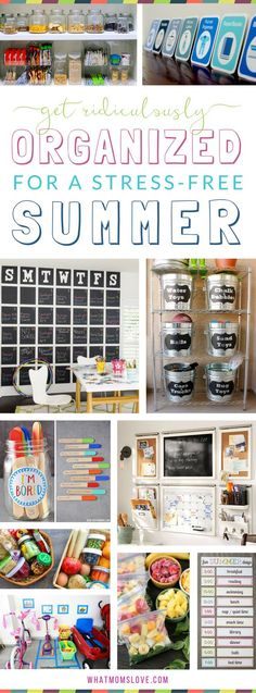 "Organizational hacks, tips and tricks for a stress-free summer with your kids | How to organize your family's life for summer with smart ideas including summer schedule, morning and nighttime routine and chore charts, calendar planning, fun things to do when kids get bored (like an ""I'm bored jar""!), DIY ways to organize your garage, snack prep tips and more!"