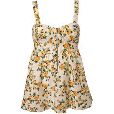 Flouro Bloom Zip Cami ($31) ❤ liked on Polyvore featuring tops, tank tops, dresses, shirts, vests and camis, strappy cami, cotton camisole, floral camisole, floral cami and cotton cami