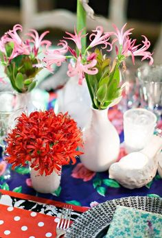 Using various flowers and colors makes the tablescape unique and inviting