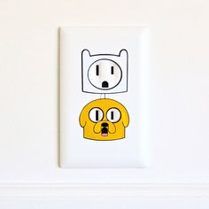 Finn Jake Adventure Time Electric Outlet Wall Art Sticker Decal Combo ($6) ❤ liked on Polyvore featuring home, home decor, wall art, vinyl decal stickers, dog decals, dog home decor, vinyl decals and vinyl wall art