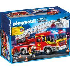 Camion de pompier avec échelle pivotante et sirène - Playmobil City Action…