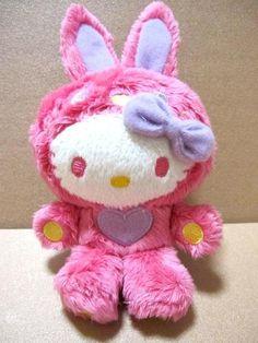 Hello Kitty Colorful Bunny Key Chain Plush Doll Tag | eBay