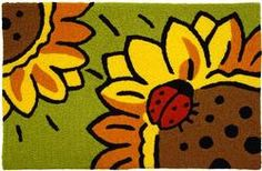JB: Ladybug and Sunflower (small) Sink Mats, Patio Rugs, Indoor Outdoor Rugs, Rug Hooking, Tigger, Bowser, Area Rugs, Creatures, Disney Characters