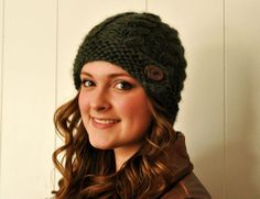 Ponderosa Cable Toque with Clay Button