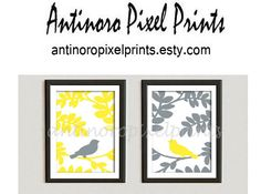Set of Two Spring Bird  on Branch  (Yellow / Grey) Art Print  - 8x10 Print Yellow / Grey (Unframed) on Etsy, $25.00