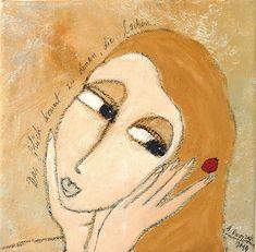 DAS GLÜCK KOMMT ZU DENEN ... Malerei Bild 20x20cm von Atelier Dworzak auf DaWanda.com