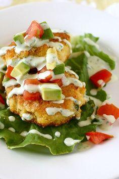 corn cakes with tomato avocado relish. -These were fantastic!
