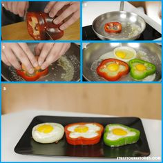 Cut a ring of bell pepper and use it as a container to cook the egg inside it. You can also use regular capsicum or onion ring. This way you can eat the container as well.  For more hacks like this and many more follow the link in bio.  #stuffyourkitchen #kitchen101 #kitchen hacks