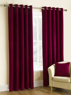 Puerto Ready Made Eyelet Curtains Red Curtains Living Room, Home Curtains, Bedroom Red, Home Decor Bedroom, Home Design, Home Interior Design, Ready Made Eyelet Curtains, Rideaux Design, Decor Room