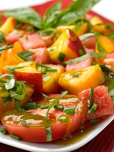 Watermelon Peach Tomato Salad » Deliciously Different~T~ Love the dressing on this made of hot pepper jelly, balsamic and lime juice. Wonderful summer salad.