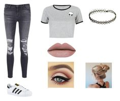 """""""School day"""" by jaynicolefashion ❤ liked on Polyvore featuring J Brand, WithChic and adidas"""