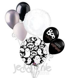 7 pc Boo! Ghost Collage Balloon Bouquet Party Decoration Happy Halloween