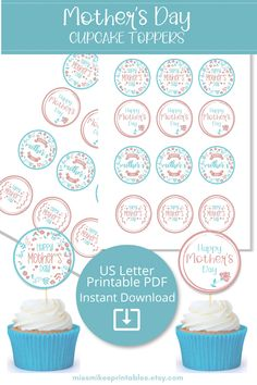 Quick and easy party decorations for a Mother's Day brunch. Bake the cupcakes at home or pick them up from the bakery. Download, print, and assemble these pretty cupcake toppers. Mothers Day Brunch, Sunday Brunch, Happy Mothers Day, How To Make Waffles, Mothers Day Cupcakes, Easy Party Decorations, Pretty Cupcakes, Cupcake Toppers
