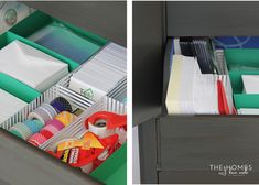 IHeart Organizing: UHeart Organizing: Office in an Armoire (With DIY Paper Drawer Dividers! Small Home Office Furniture, Retro Furniture, Furniture Stores, Drawer Dividers, Home Gadgets, Cool Inventions, Konmari, Office Organization, Diy Paper