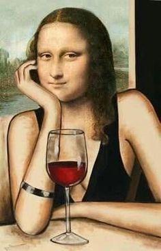 We think Mona Lisa would have been a wine fan! Seguro que Mona Lisa era una fan del vino. Lisa Gherardini, Mona Lisa Parody, Mona Lisa Smile, Photocollage, Wine Art, In Vino Veritas, Arte Pop, Art Graphique, Pop Art