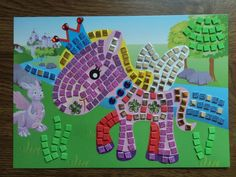 "New! For sale! COMPLETED 10"" x 7"" Unicorn Fantasy Glitter Sticker Tile Mosaic Picture Kid Craft"