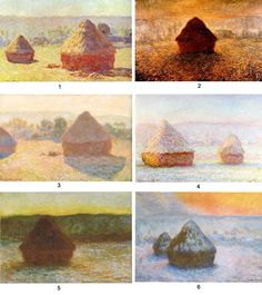 We give 6 examples of Monet haystack paintings with Monet's own description of the time of day or season in which he painted them. Can you match his description to the painting?