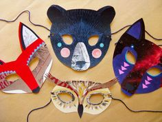 Items similar to Galactic Wolf Mask, Paper Animal Mask, Woodland Forest Party or Wedding Favor on Etsy Owl Mask, Bear Mask, Woodland Creatures, Woodland Animals, Woodland Forest, Forest Creatures, Masque Halloween, Halloween Costumes, Diy Halloween