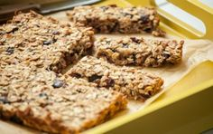 Chewy Coconut Granola Bars (8x8 inch pan: 1 1/2 cup quick-cooking rolled oats, 1 cup unsweetened coconut flakes, 1/2 cup finely chopped walnuts or pecans, 1/4 cup oat flour (can make own by whirling quick-cooking oats in food processor until powdery), 1 cup dried fruit such as dried cranberries/raisins/apricots chopped, 3/4 cup unsweetened applesauce, 1/3 cup honey, and 2 t vanilla extract) #healthysnack