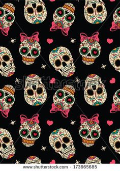 Seamless with mexican skulls - stock vector