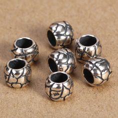 925纯银泰银批发饰品银 DIY配件 5*9MM桶珠 直通小管路路通A260