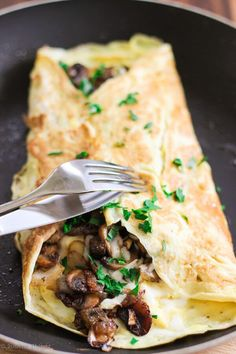Mushroom Scallion Frittata with Parmesan Cheese - perfect dish for breakfast, lunch or dinner.