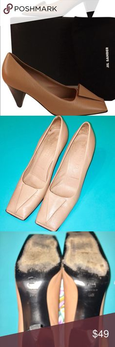 😍DESIGNER😍Jil Sander Nude Pump Women's Size 39.5 or 9.5US  Jil Sander Classic Toe Fold Pump in Camel. Worn but still look fab! Designer fashion at Amazing Price ! No box. No dustbag. Jil Sander Shoes Heels