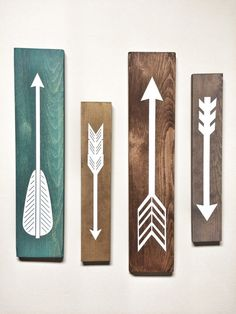 Rustic White Wooden Arrows  4 Piece Set - would look great in any room - nursery, living room, office you name it! Farmhouse rustic wall decor by cherrytreegallery