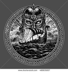 God Odin storm sea and Drakkar . Illustration of a circle. Viking emblem Viking ship. Norse God