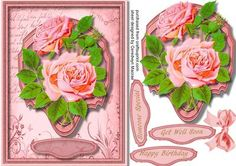 Lovely Pink roses on a Ornate Plate  on Craftsuprint designed by Ceredwyn Macrae - A lovely card to make and give to anyone with Lovely Roses on a Ornate Plate has three greeting tags and a blank one , - Now available for download!