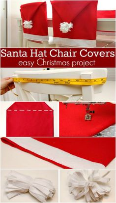 Make these adorable Santa Hat Chair Covers for your Christmas Table or give as a gift! Pin this to your Christmas Board! Homemade Christmas, Simple Christmas, All Things Christmas, Christmas Holidays, Christmas Decorations, Xmas, Christmas Ideas, Long Chair, Christmas Chair Covers