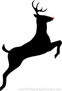Free Digital Stamp - Leaping Deer Silhouette