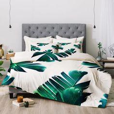 East Urban Home 83 Oranges Banana Leaf Crush Comforter Size: King Bedroom Green, Cozy Bedroom, Home Decor Bedroom, Bedroom Sets, Console, Tropical Bedrooms, Tropical Bedding, Tropical Bedroom Decor, Bedroom Vintage