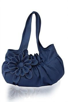 Faux Leather Purse / Handbag / Shoulder Bag with Stylish Flower Applique - Blue, Pleated with Double Straps - Off on EtsyShoulder Bag by Afamia - StyleSaysnon credo sia fatta a mano ma.Shop for leather purse on Etsy, the place to express your creati Denim Handbags, Purses And Handbags, Leather Handbags, Large Purses, Cute Purses, Fashion Bags, Fashion Shoes, Flower Fashion, Girl Fashion