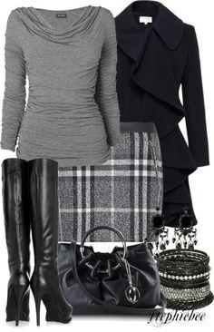 Plaid skirt, grey shirt, black coat, black boots, black earrings, black and silver bracelets