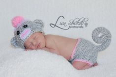 Sock Monkey Hat and Diaper Cover Newborn  by lyttlesister on Etsy, $30.00