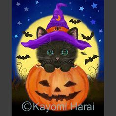 Kittens & Cute Animals Halloween Canvas Paintings, Canvas Painting Projects, Halloween Painting, Halloween Drawings, Fall Paintings, Canvas Art, Halloween Rocks, Dog Halloween, Happy Halloween