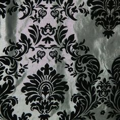 """Flocked Taffeta Fabric Silver & Black #Damask"" I just bought 2 yards.. omg I can't wait for it to get here!"