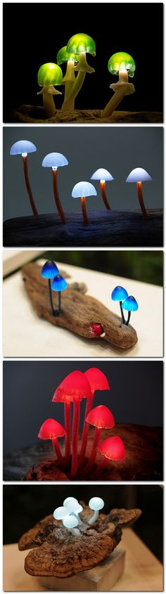 "This brings new meaning to the phrase ""magic mushrooms."" Japanese Yukio Takano, of The Great Mushrooming, created these amazing mushroom lights by embedding LEDs into realistic-looking tiny synthetic mushrooms (this very much reminds me of the Tree Stump Lights). http://enpundit.com/realistic-mushroom-lights-made-with-tiny-leds/"
