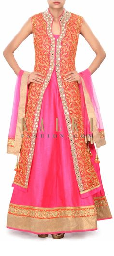Buy Online from the link below. We ship worldwide (Free Shipping over US$100) Price- $279 Click Anywhere to Tag http://www.kalkifashion.com/pink-anarkali-suit-with-jacket-enhanced-in-aari-work-only-on-kalki.html