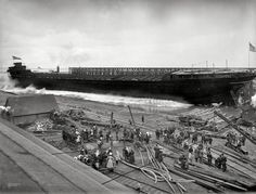 """May 14, 1910. """"Detroit Shipbuilding Co. yards at Wyandotte, Michigan. Launch of bulk steel carrier E.H. Utley."""