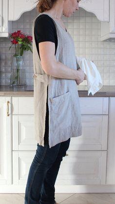 Original Linen Pinafore Apron Pinafore Washed linen apron Work Apron Dress L Sewing Aprons, Sewing Clothes, Diy Clothes, Dress Sewing, Linen Apron, Linen Tunic, Dress Patterns, Sewing Patterns, Clothing Patterns