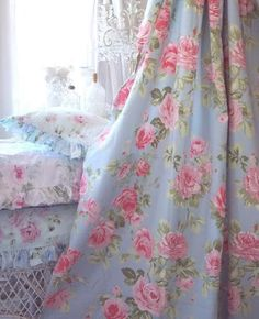 lace window and vintage floral bed