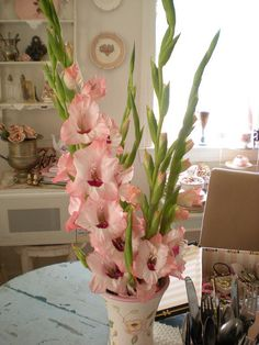 Gladiolas are a favorite, especially when they have the perfect vase.