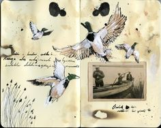 Moleskine by Nilüfer Üstüner, via Behance Moleskine Sketchbook, Arte Sketchbook, Fashion Sketchbook, Collages, Sketchbook Inspiration, Art Journal Inspiration, Mail Art, Bird Art, Art Journals