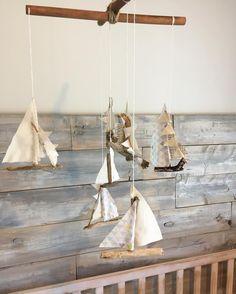 Driftwood sailboat mobile
